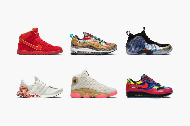 GOAT Rounds Up Chinese New Year-Inspired Sneakers Air Jordan 13 Retro 'Chinese New Year' UltraBoost OG 'Chinese New Year'  Air Max 98 'Chinese New Year'  UltraBoost 2020 'Chinese New Year'  Dunk Hi Premium SB 'CNY'  Pharrell x Solar Hu Glide ST 'Chinese New Year' UltraBoost 4.0 'Chinese New Year' Air Foamposite One 'CNY' 2018 Air Jordan 34 'Chinese New Year' Air Max 1 Premium EP 'Longevity'