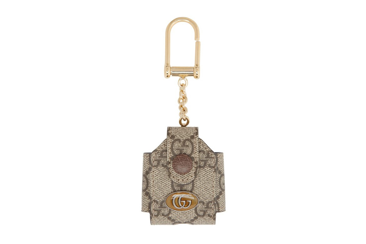 Gucci Beige Gg Ophidia Airpods Case Keychain Hypebeast