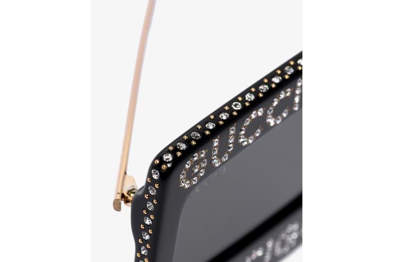 Gucci Black Crystal Logo Sunglasses Release sunglasses eyewear italian Swarovski crystals
