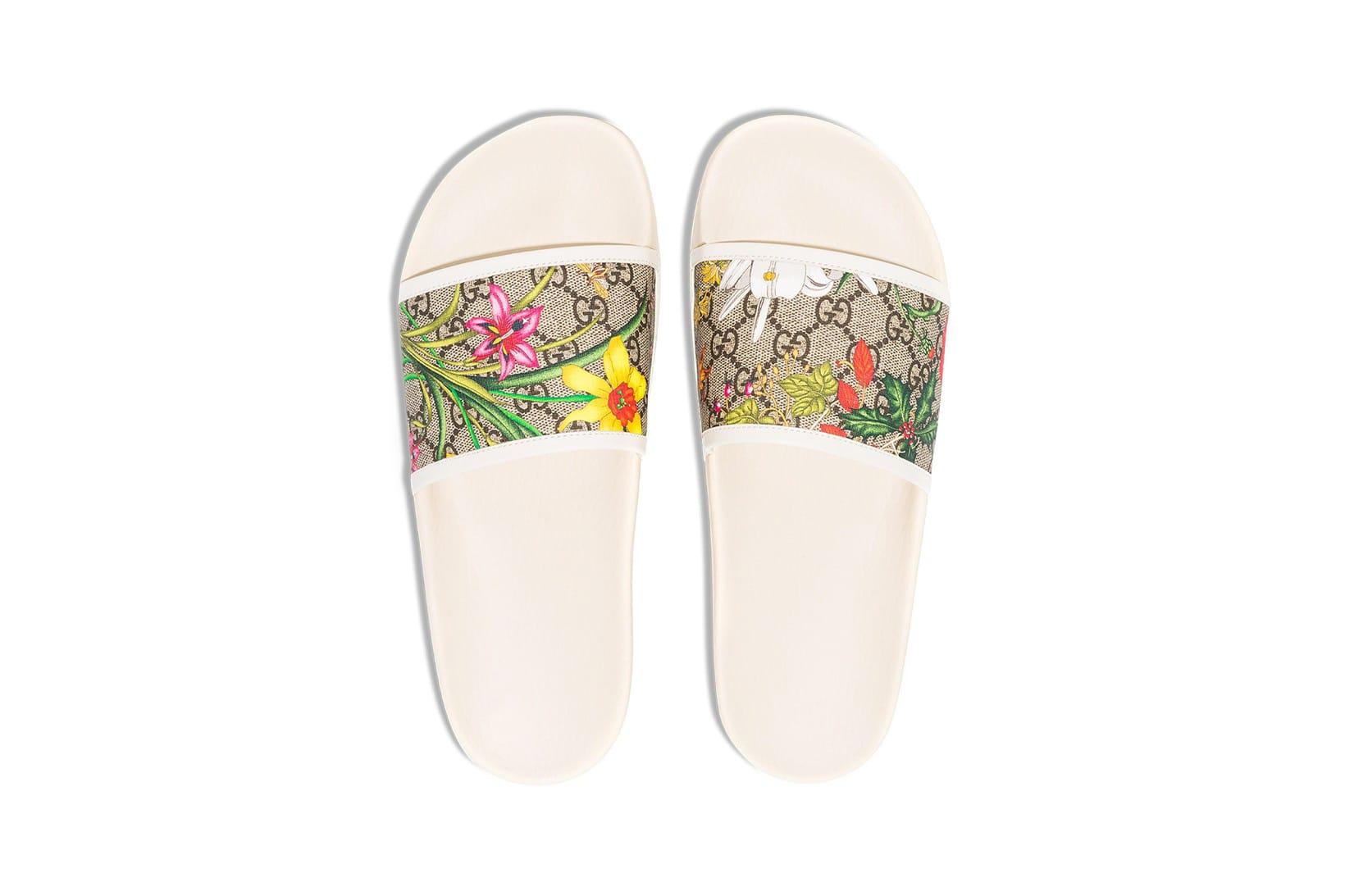 Gucci GG Flora Print Slides Release