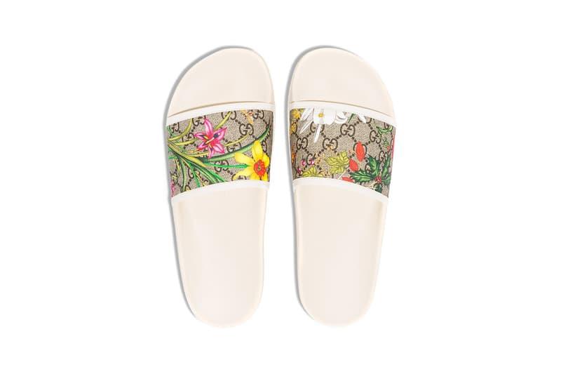 Gucci GG Flora Print Slides Release Info sandals slippers alessandro michele browns monogram footwear