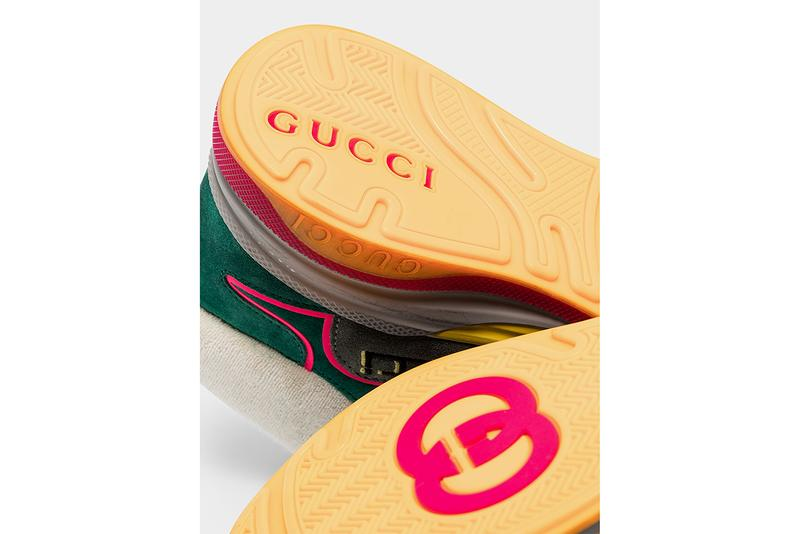 """Gucci Ultrapace Mid-Top Sneaker """"Turquoise/Grey"""" Suede release information Alessandro Michele Cruise 2020 Footwear New Shape Runway Browns Vintage Effect"""