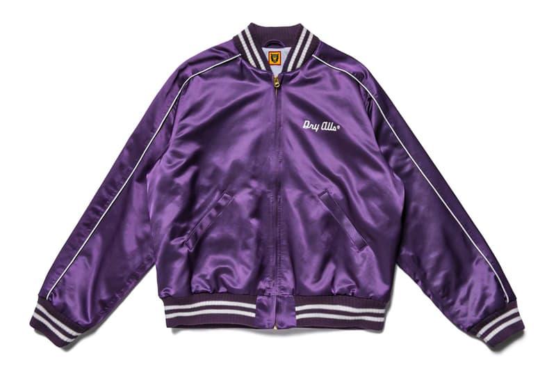 HUMAN MADE Purple Satin Varsity Jacket spring summer 2020 raglan construction gears for futuristic teenagers nigo pharrell dry alls collegiate ice cream parfait heart embroidery Japanese