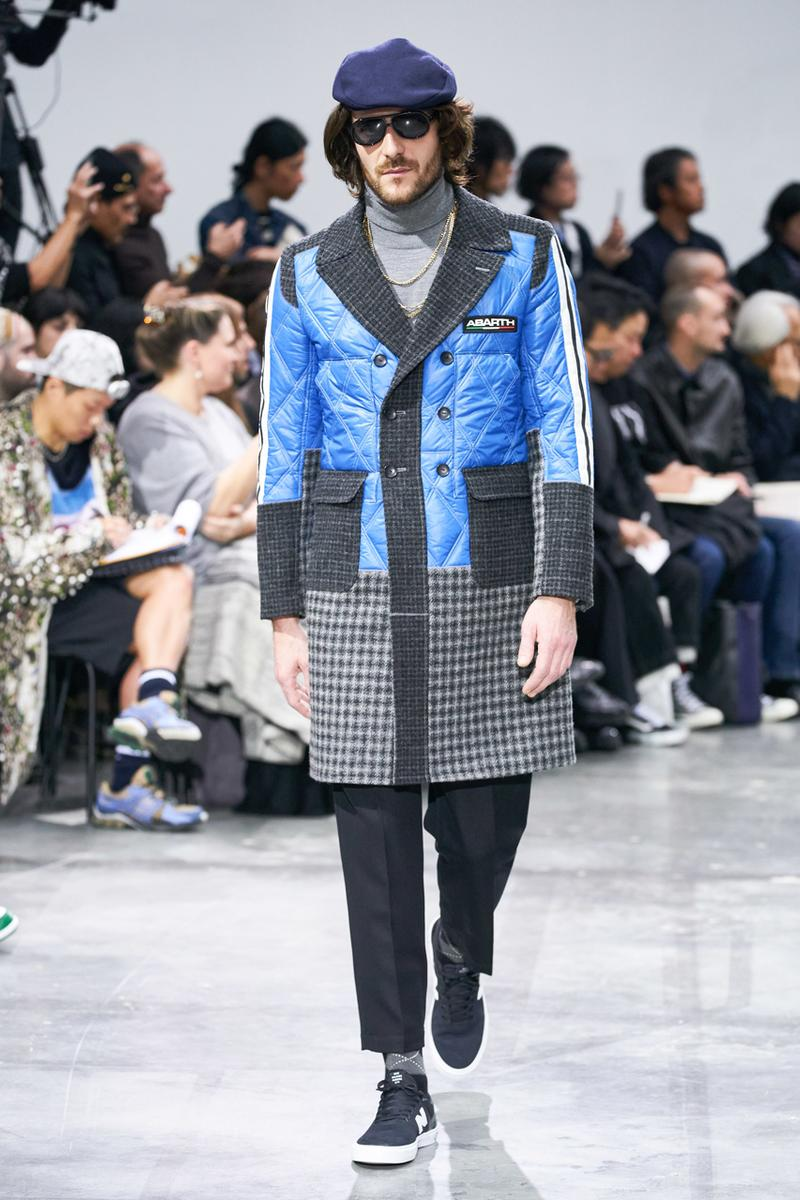 junya watanabe man fall winter 2020 mens collection runway show paris fashion week classico theme italian racing collaborations brooks brothers levis canada goose carhartt pirelli moto guzzi