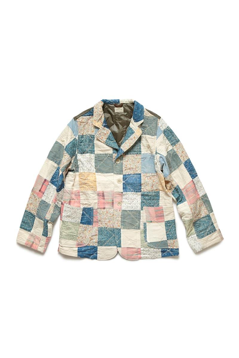 KAPITAL American Quilts Nylon Trench Coat Hospital jacket spring summer 2020 collection japanese kiro hirata victorian indigo floral pin stripes denim batted padded single vent