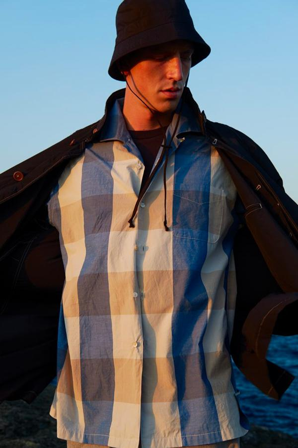 KAPTAIN SUNSHINE Spring Summer 2020 collection Lookbook japanese minimal understated traditional pattern plaid checker double breasted blazer mac coat jackets vest gore tex