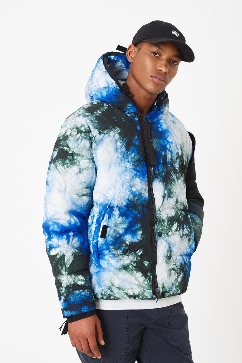 KITH x NEMEN Tie-Dye Collaboration Release Info capsule Tie-Dye Down Jacket, Blade Jacket, XLight Guard Vest, Futura Kimono, Stark Track Pants, and Tie-Dye Goose Down Hood. release date outerwear multicolor