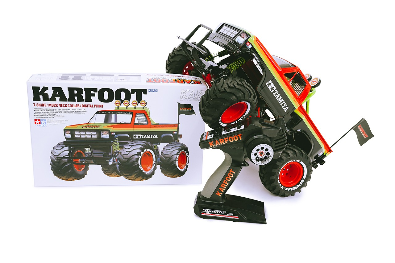 TAMIYA x L'Art de l'Automobile Monster Truck Collaboration karfoot rc car toy remote control tee shirts paris fashion week pfw release