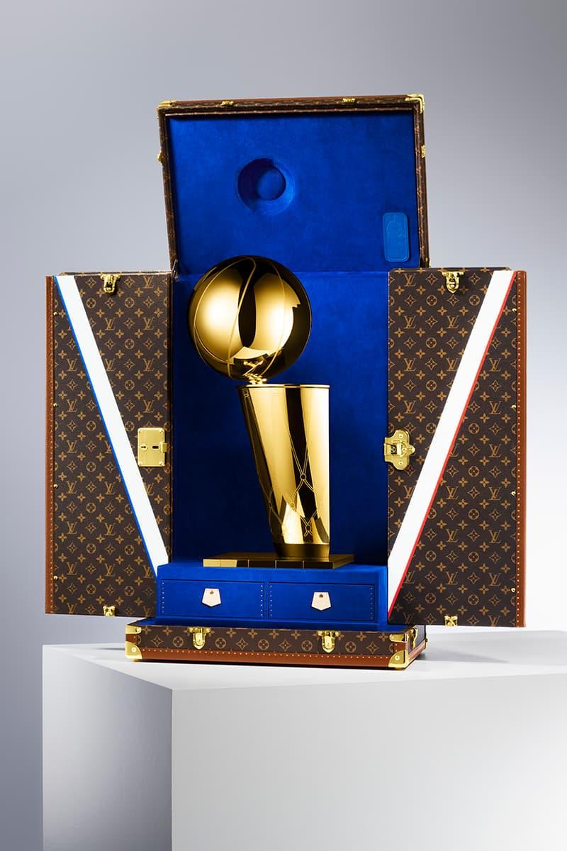 Louis Vuitton Official NBA Trophy Travel Case paris flagship exclusive event vintage trunk brass fixtures monogram classic royal blue french luxury fashion house virgil abloh capsule collection partnership