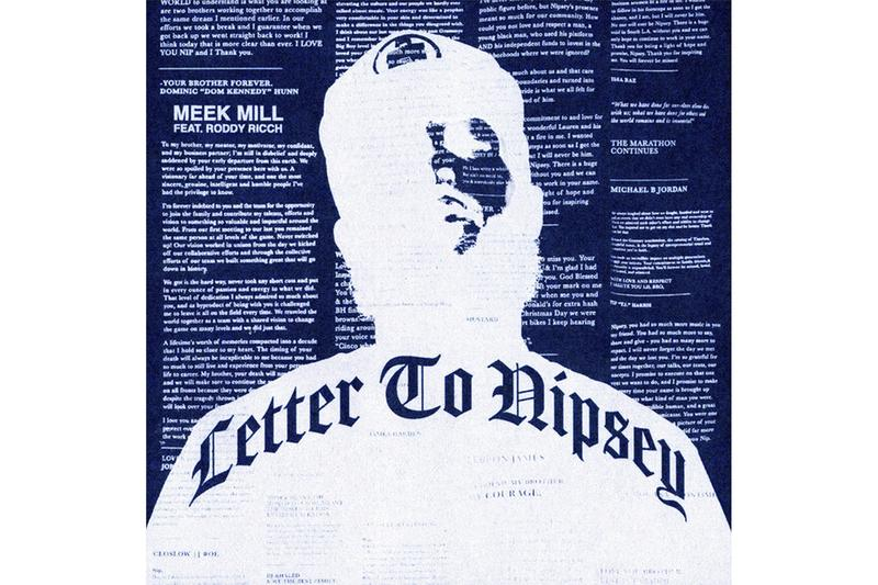 "Meek Mill ""Letter to Nipsey"" Ft. Roddy Ricch single stream listen now nipsey hussle"