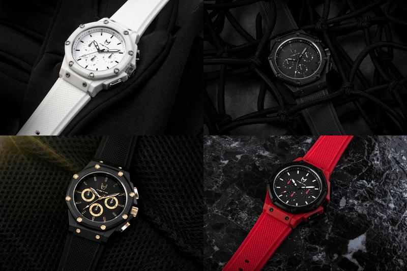 Meister Celebrates 10th Anniversary Ambassador Watches 40mm case size white black on black black and red black and gold multi-piece polycarbonate case and a bezel Japanese 6 hand chronograph Miyota movement stopwatch function 24-hour clock distinct design silver stainless steel pushers crown and bolts complement