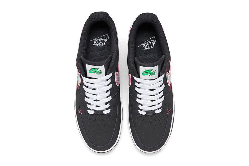 Nike Air Force 1 07 LV8 Black Bright Crimson green strike CU6646 001 footwear shoes sneakers kicks runners trainers basketball court swoosh spring summer 2020 collection