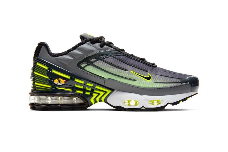Nike Air Max Plus 3 Smoke Gray Lemon Venom Smoke Grey Dark Smoke Lemon Venom Black Style CD7005 002 TPU Tuned Air footwear sneakers shoes kicks runners trainers swoosh