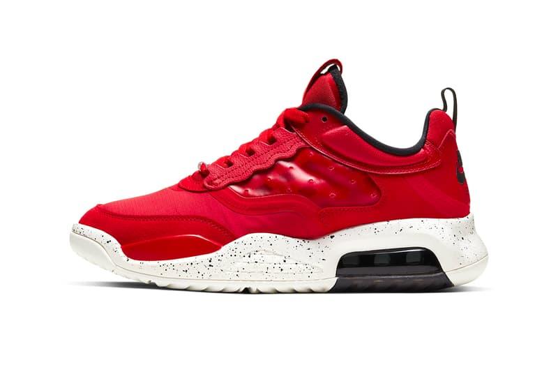 Nike Jordan Air Max 200 Fire Red Sail Black sneakers shoes footwear kicks runners trainers michael jordan 23 jumpman swoosh air unit sole Fall Winter 2019 Jordan Brand AJ4 CD6105 601