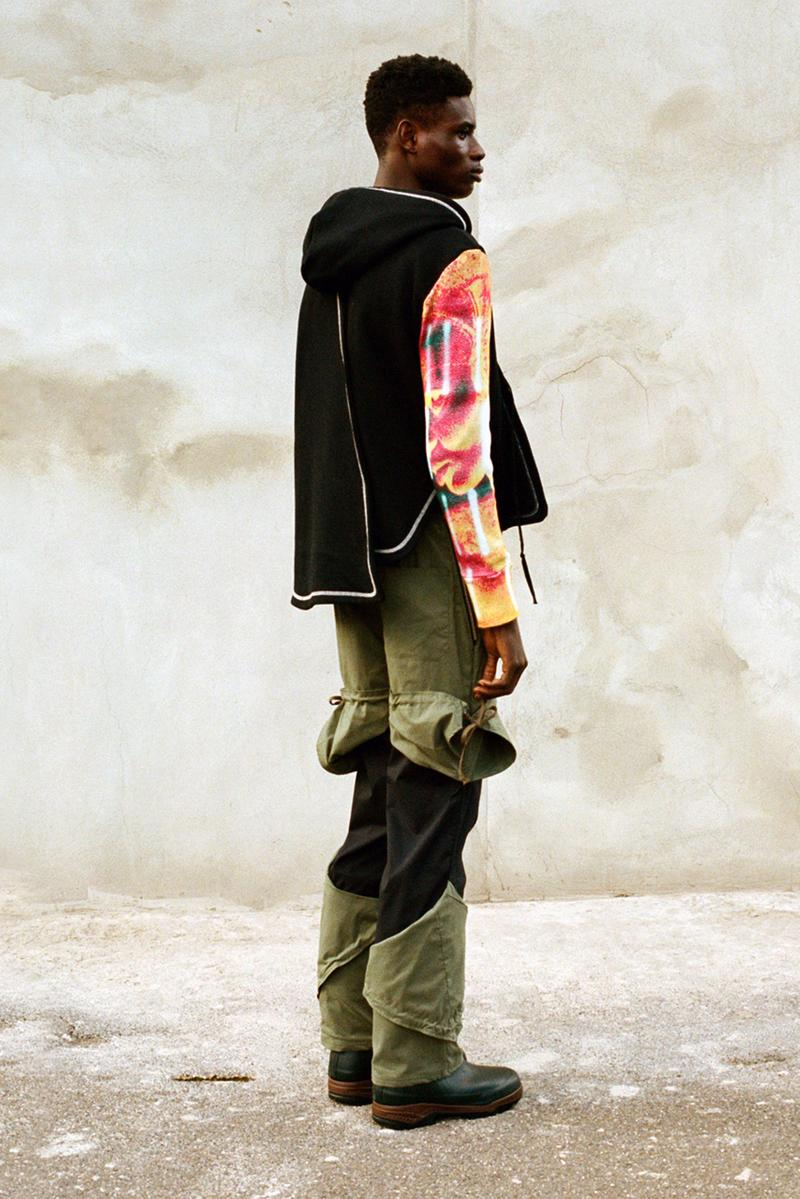 NOUNION Fall/Winter 2020 Collection Three Lookbook Coats Jackets Sweatshirts Pants Shirts Long Sleeves Corduroy Leather Asymmetrical Deconstructed Black White Red Green Blue