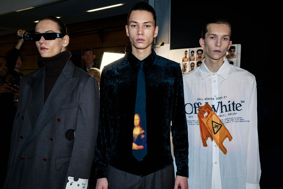 Off-White™ FW20 Delivered Cut-Out Suits, Woven Caution Signs and Collaborative Jordan 5 Sneakers