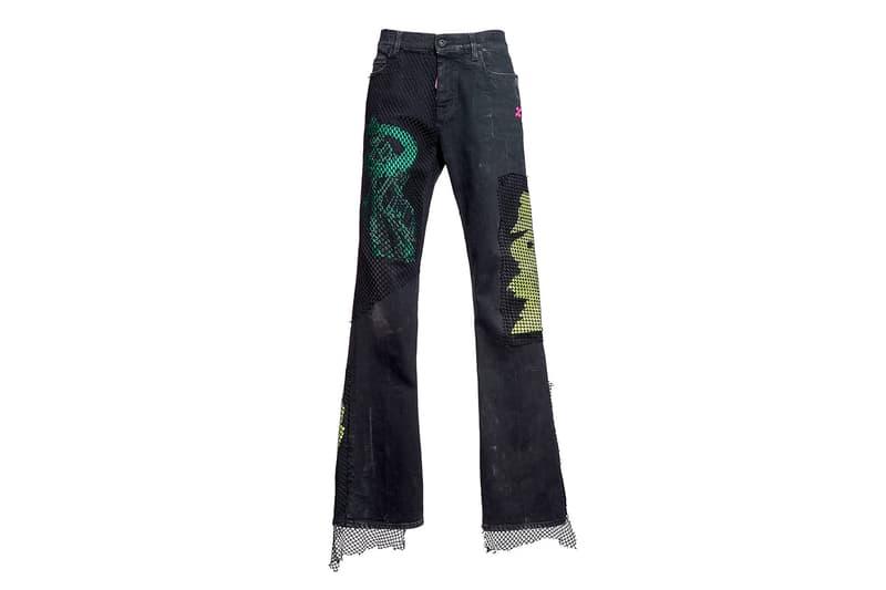 Off-White Flared Fishnet Detail Jeans denim virgil abloh pants the webster style arrows retail online shopping pants denim black jeans wide leg bell-bottoms