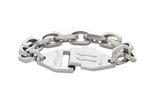 Off-White™ Offers up Chunky Industrial Silver Chain-Link Bracelets & Nameplate Necklaces