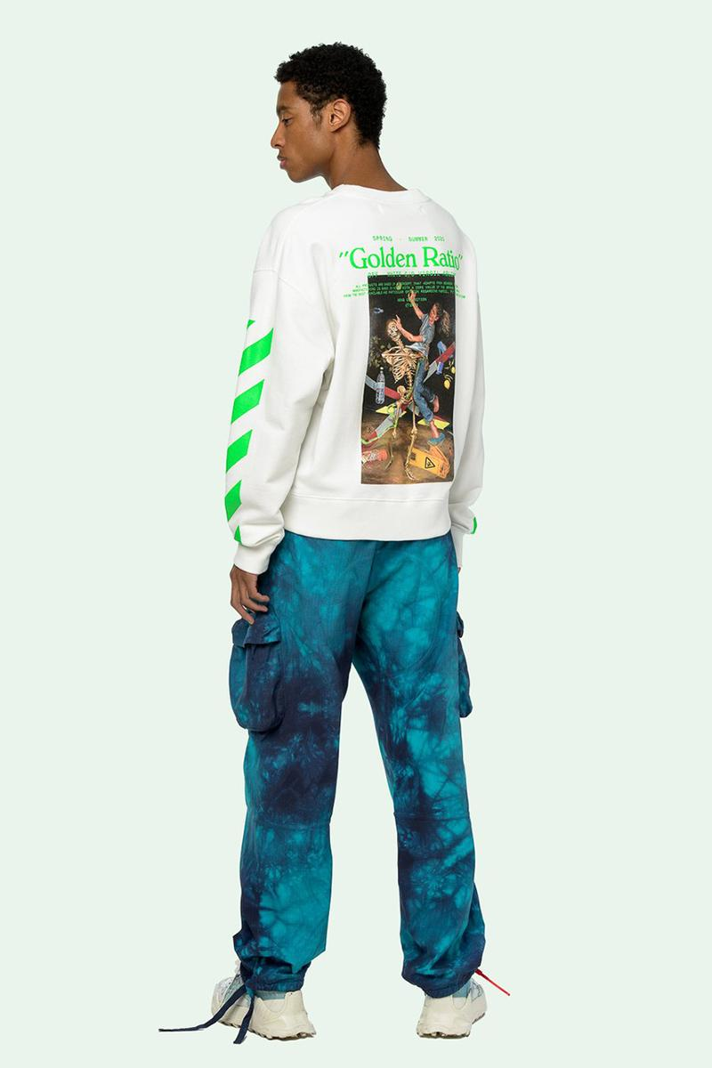 """Off-White™ Pascal Painting Sweatshirt Release Information """"Brilliant Green"""" Diagonal Printed Stripes The Golden Ratio Special Number Virgil Abloh Sweater Long Sleeve White Top Menswear Spring Summer 2020 SS20"""