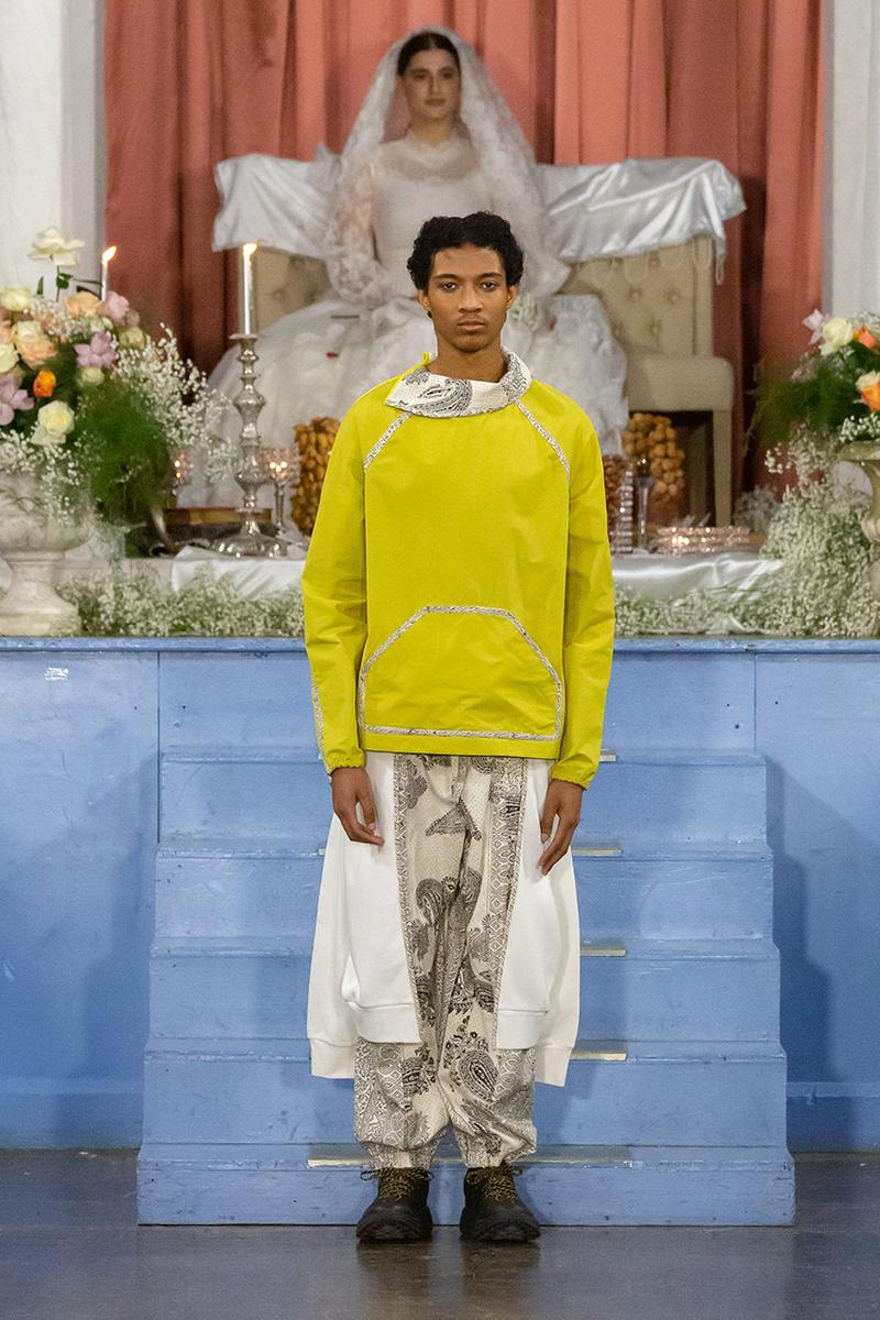 paria farzaneh lfwm fall winter 2020 london fashion week mens runway show collection gore tex converse thermore sustainable Iran traditional