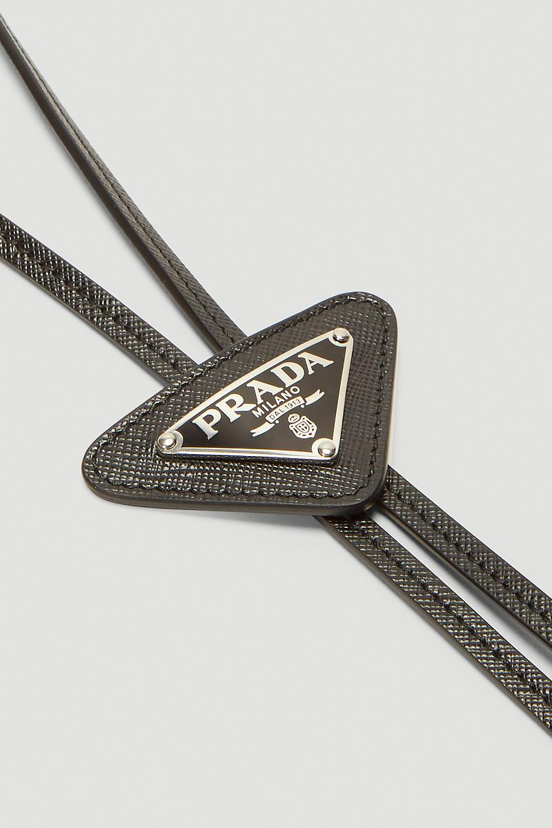 Prada Logo Plaque Bolo Tie Release Info Buy Price Black Silver