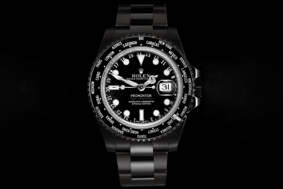 Pro Hunter Crafts a Blacked-Out Stealth Rolex World Time Watch