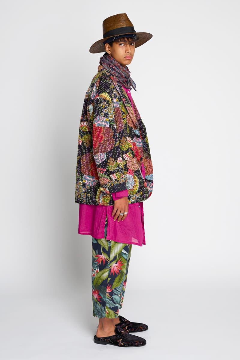 RANDT Spring Summer 2020 Lookbook Nepenthes New York City editorial floral navy Daisuke suzuki Japanese designer Koolknit Mesh Studio Jacket hand stitched Pima Poplin