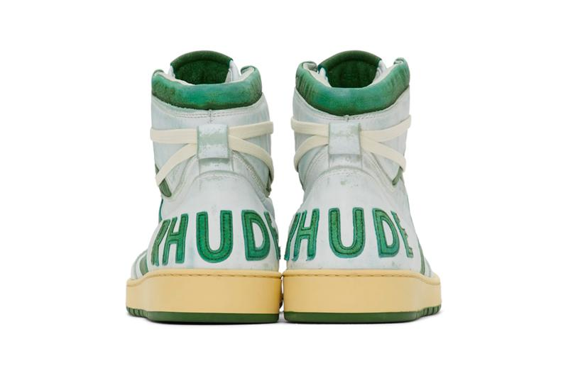 RHUDE Retro Bball Hi Sneakers White Green Grey Release Info Buy Price rhuigi villasenor