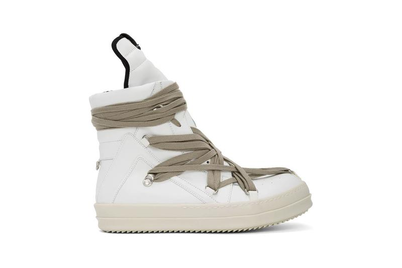 "Rick Owens ""Black/White"" & ""White"" Geo Basket High-Top Sneakers ""TECUATL"" Paris Fashion Week Spring Summer 2020 SS20 Collection Runway Footwear Sneakerboot Release Information First Closer Look Drop SSENSE Cop Now Online Lord of Darkness Laces Military Utilitarian Goth"