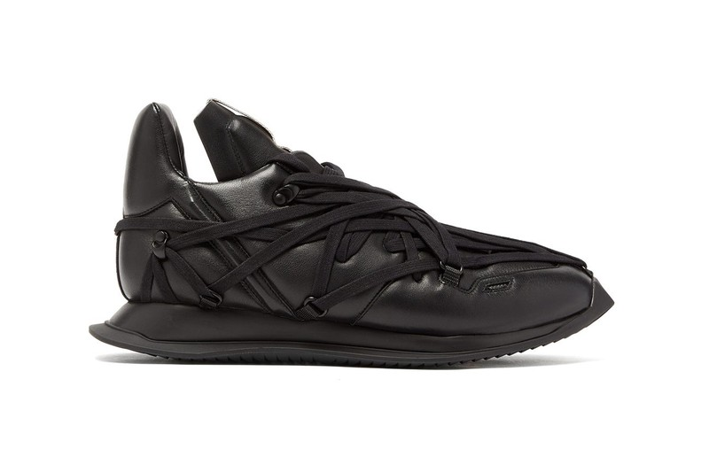 Rick Owens' Intricately-Laced Maximal Runner Returns in Blacked-Out Version