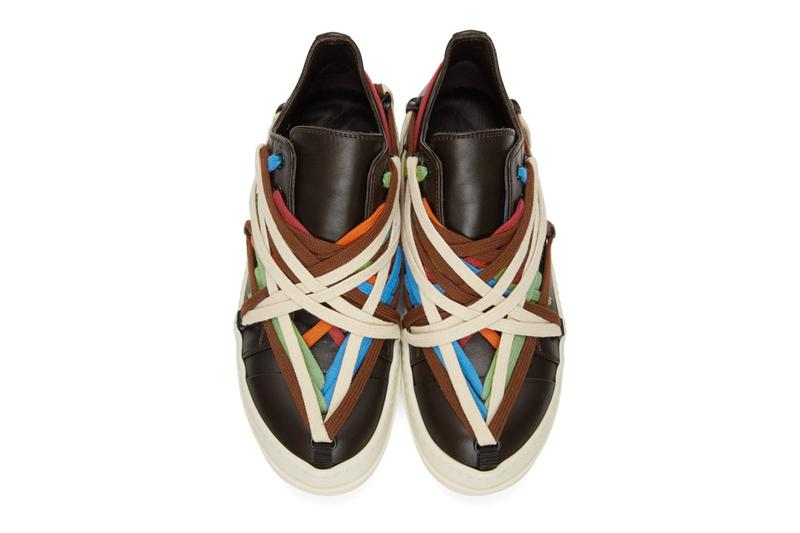 Rick Owens Multi Colored Lace Sneakers bondage shoes footwear kicks runners trainers drkshdw brown made in italy spring summer 2020 collection buffed leather designer black