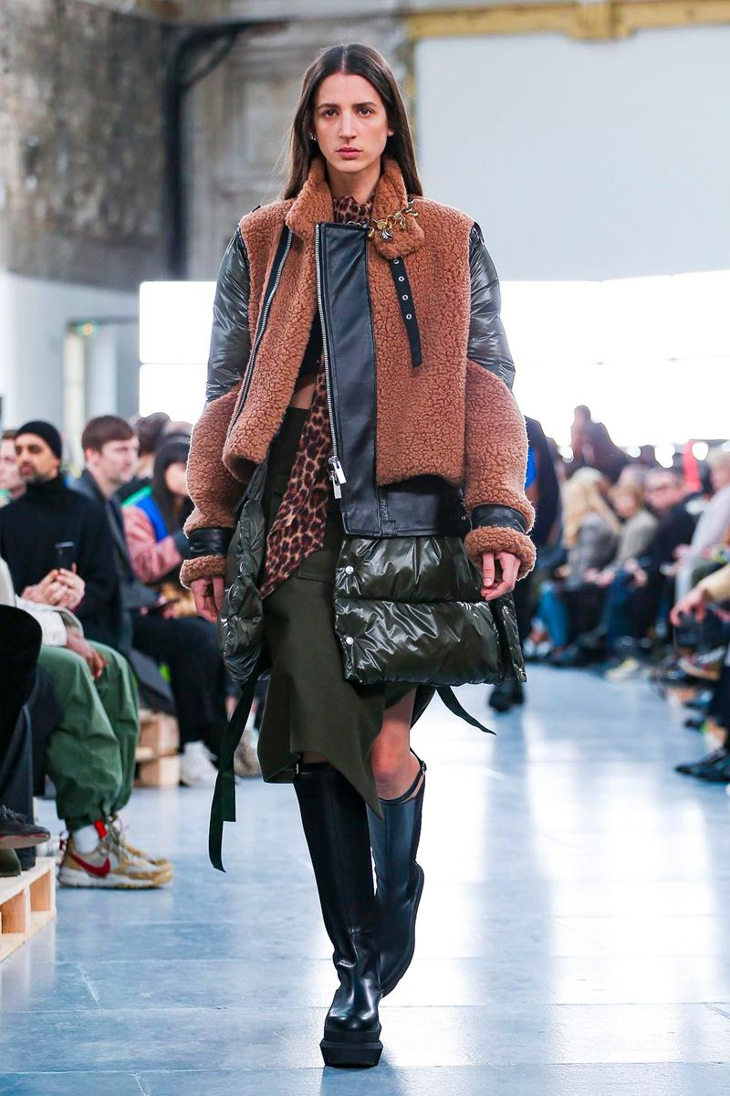 sacai Paris Fashion Week Fall Winter Runway Nike Pegasus Vaporfly pfw co ed chitose abe deconstruction military outerwear japanese designer layer styles leopard olive asymmetrical