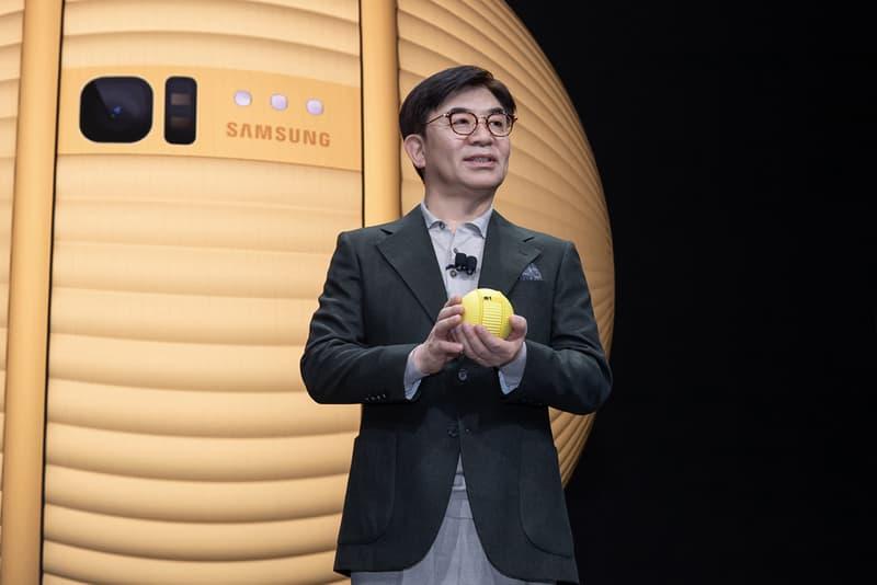 Samsung Unveils Robotic Ball Companion CES 2020 ballie tech announcement H.S. Kim tennis ball bb8 chores assistant ai artificial intelligence camera