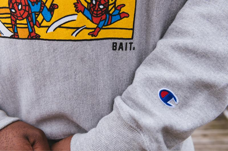 Spider Man Amazing BAIT Champion Capsule Release Info Buy Price Sweater T shirt Sweatpants Marvel Comics