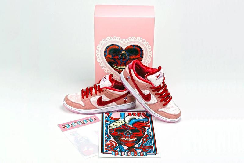 strangelove skateboards nike sb dunk low fine pair white pink red valentines day velvet CT2552 800 sean cliver release date info photos price