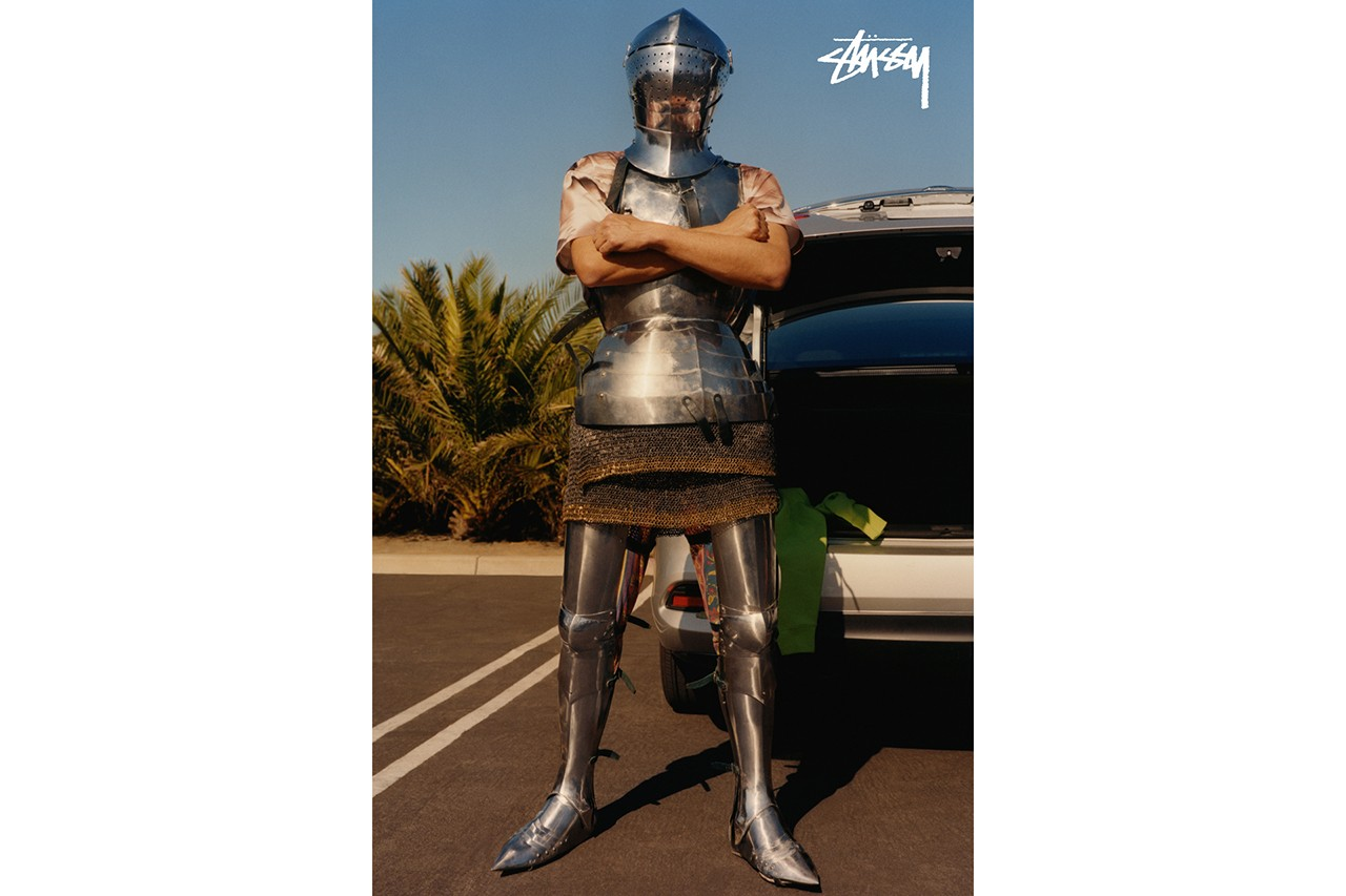 Stussy Spring 2020 Video Campaign lookbook Colin Dodgson medieval equestrian surreal southern california beach knights horseback riding collection capsule streetwear brand