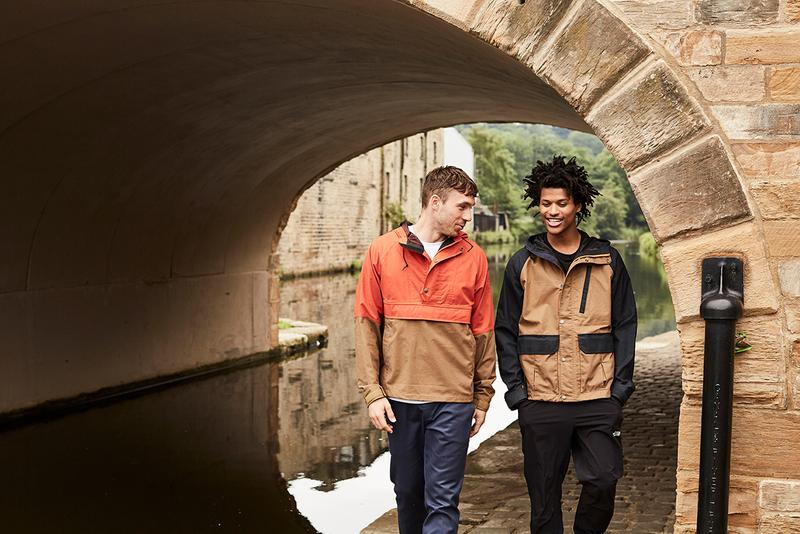 British Millerain x The North Face Collection Zip-Up Sierra Jacket Pullover Wind Jacket Khaki Navy Tangerine Tango wax outerwear yosemite half dome tee shirt collaboration lookbook