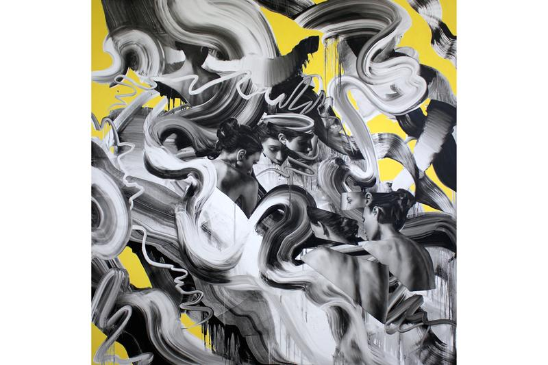 """Tom French """"Transcend"""" Unit London Retrospective Exhibition Paintings 'Parallax' 'Duality' Charcoal Drawings"""