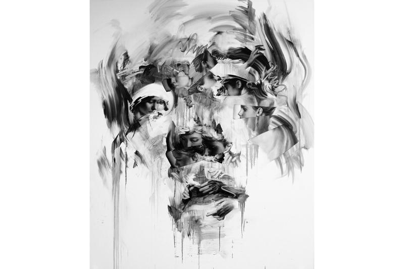 "Tom French ""Transcend"" Unit London Retrospective Exhibition Paintings 'Parallax' 'Duality' Charcoal Drawings"