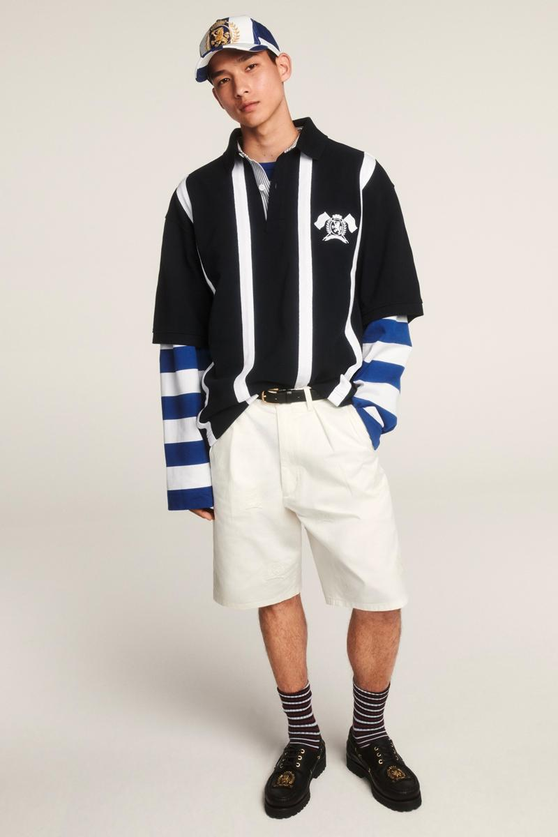 Tommy Hilfiger Celebrates 35th Anniversary Spring 2020 Lookbook collection american flag heritage nautical sports jackets varsity collegiate jeans denim ivy blue white red jackets outerwear