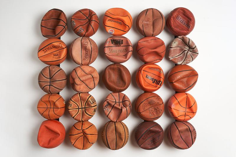 "Tyrrell Winston ""Encore"" Exhibition Library Street Collective Detroit Basketballs Sculptural Installations Found Objects Tarp Steel Panels Gatorade Cooler"