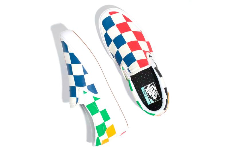 vans multi color slip on sneakers shoes oversized checkerboard comfycush
