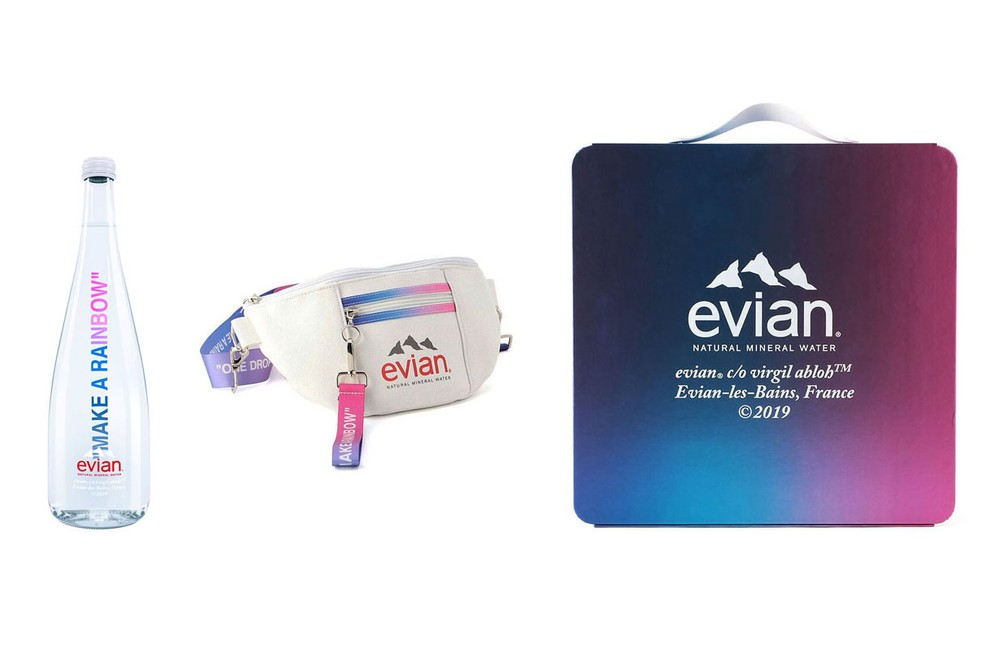 Virgil Abloh x Evian Water Bottle, Shoulder Bag, Box Release Where to buy Price 2020 Collaboration