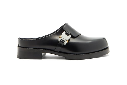 1017 ALYX 9SM Unveils Sleek Black Rollercoaster-Buckle Leather Clogs