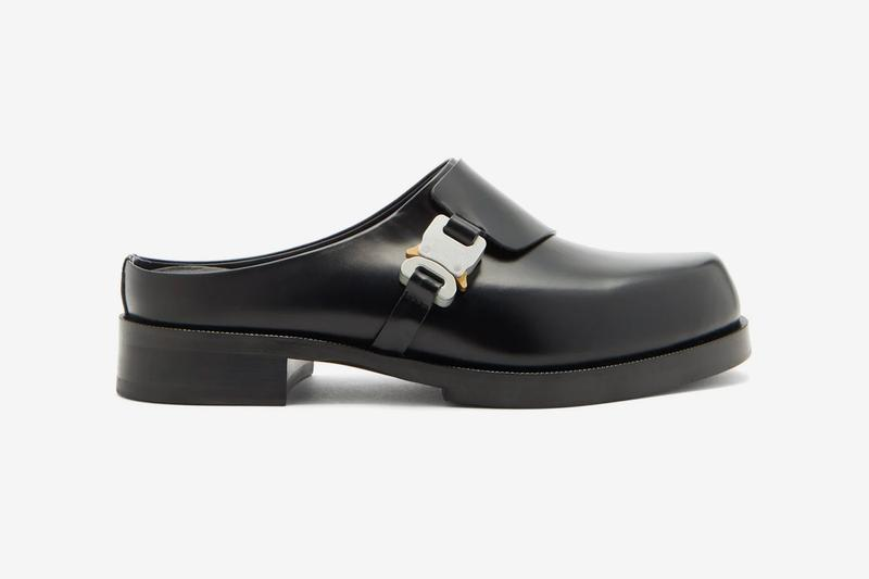 1017 ALYX 9SM Black Rollercoaster Buckle Leather Clogs hardware fall winter 2020 collection matthew m williams made in italy full grain footwear shoes sneakers runners trainers slides