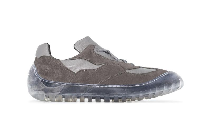 A-COLD-WALL* Grey Leather Paneled Low Top Sneakers Clear Rubber Overshoe Samuel Ross Design British London Brand Browns Release Information Footwear Drop