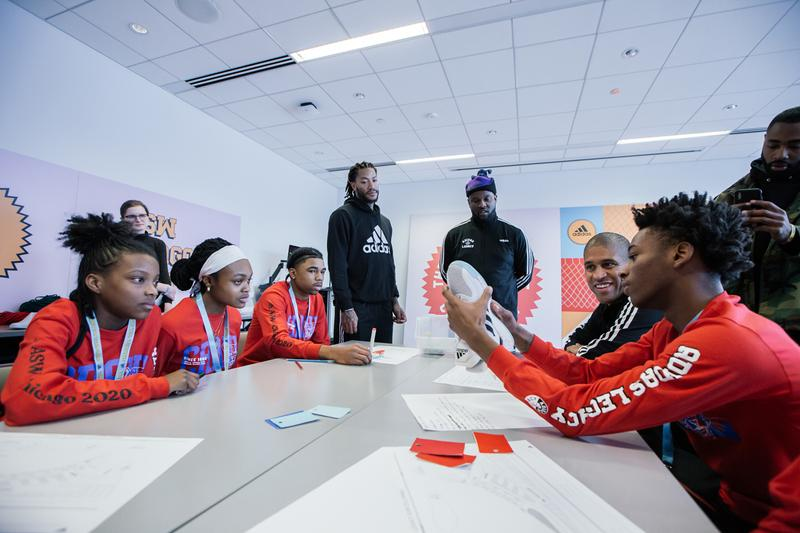 adidas Legacy Program Chicago ASW nba all star weekend worlds greatest career day jonah hill ninja derrick rose james harden pusha t rapsody Candace Parker Chiney Ogwumike Maria Taylor Tracy McGrady daniel patrick fat tiger change is a team sport basketball high school students workshops