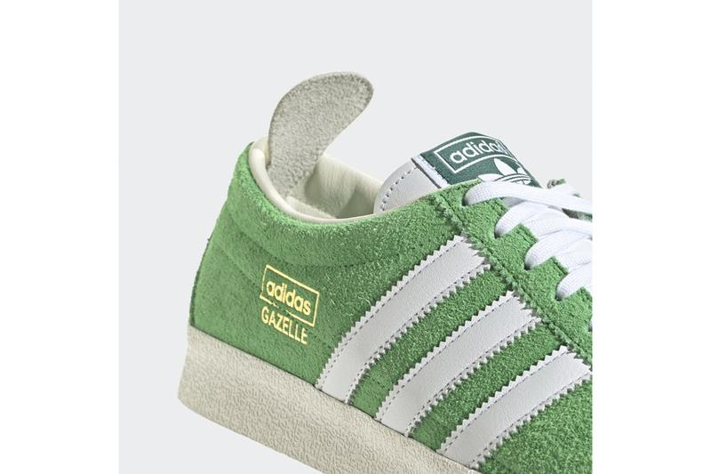 "adidas Originals Gazelle Vintage ""Semi Flash Lime"" Release Information Drop Date Closer Look Three Stripes Gold Foil OG Terrace Culture Footwear Suede"