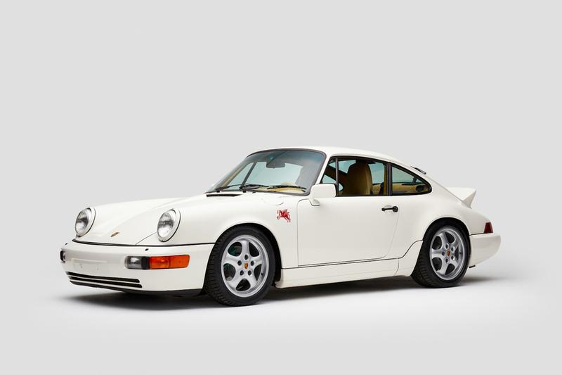 Aimé Leon Dore 1990 Porsche 964 Carrera 4 911 Collaboration Campaign ALD 694 White Pegasus Schott Leather Loro Piana Teddy Santis Car Studio Photos
