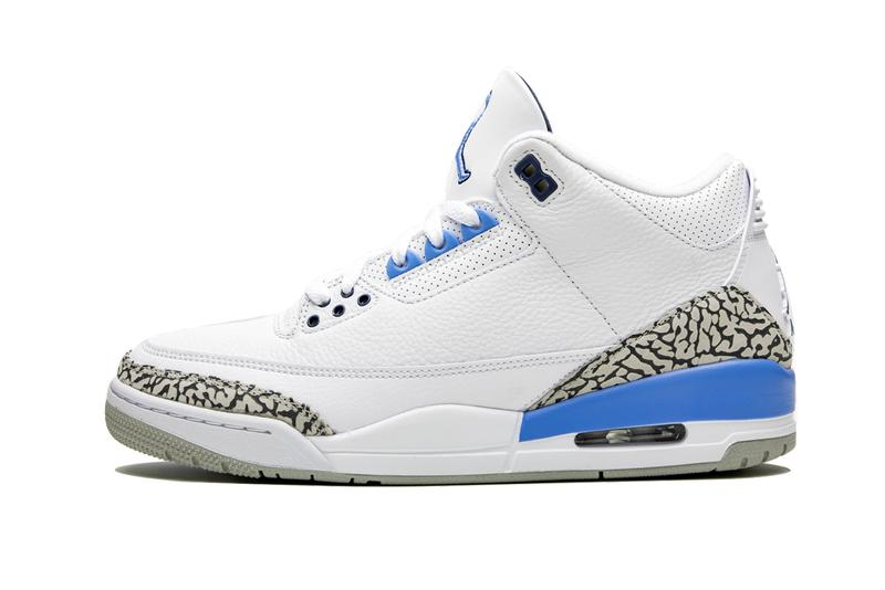 air jordan 3 unc university of north carolina tar heels CT8532 104 white valor blue tech grey powder release date info photos price